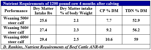 Cattle Requirements Table