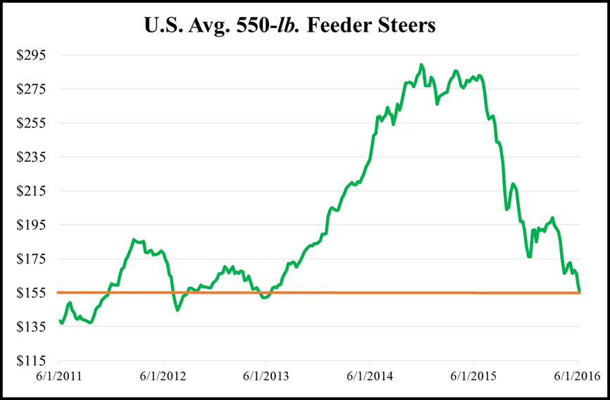 Figure 1 U.S. Average price for 550 pound steers from June 2011 to June 2016. Source Chris Prevatt, UF/IFAS Beef Economist